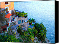 Seaside Villa Amalfi Canvas Prints - Seaside Villa Amalfi Canvas Print by Bill Cannon