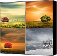 Four Season Landscapes Canvas Prints - Seasons Delight Canvas Print by Lourry Legarde