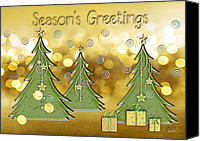 Christmas Cards Canvas Prints - Seasons Greetings Canvas Print by Arline Wagner