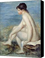 Bathing Painting Canvas Prints - Seated Bather Canvas Print by Renoir
