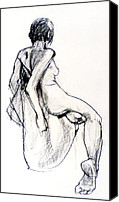 Charcoal Drawings Canvas Prints - Seated female Nude from back Canvas Print by Roz McQuillan
