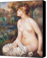 Bathing Painting Canvas Prints - Seated Female Nude Canvas Print by Renoir