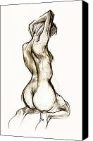 Charcoal Drawings Canvas Prints - Seated female Nude Canvas Print by Roz McQuillan
