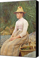 Sat Canvas Prints - Seated Lady Canvas Print by Edwin Harris