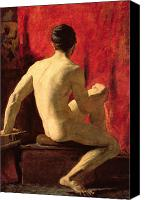 Torso Canvas Prints - Seated Male Model Canvas Print by William Etty
