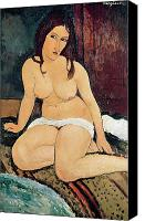 Modigliani Canvas Prints - Seated Nude Canvas Print by Amedeo Modigliani
