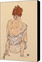 Posing Drawings Canvas Prints - Seated woman in underwear Canvas Print by Egon Schiele