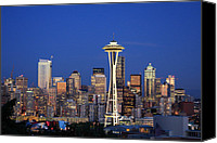 Seattle Tapestries Textiles Canvas Prints - Seattle at Dusk Canvas Print by Adam Romanowicz
