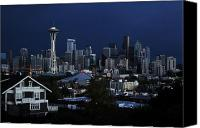 Seattle Skyline Canvas Prints - Seattle Blues Canvas Print by Benjamin Yeager
