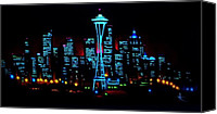 Skylines Painting Canvas Prints - Seattle by black light Canvas Print by Thomas Kolendra