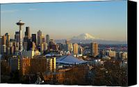 Seattle Skyline Canvas Prints - Seattle Cityscape Canvas Print by Greg Vaughn - Printscapes