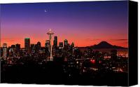 Crescent Moon Canvas Prints - Seattle Dawn Canvas Print by Benjamin Yeager