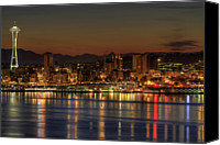 Seattle Tapestries Textiles Canvas Prints - Seattle Downtown Skyline From Alki Beach Dawn Canvas Print by David Gn Photography