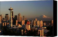 Seattle Tapestries Textiles Canvas Prints - Seattle Equinox Canvas Print by Winston Rockwell