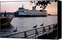 Seattle Waterfront Canvas Prints - Seattle Ferryboat Canvas Print by Kathi Shotwell