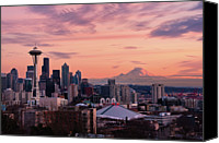 Mt. Rainier Canvas Prints - Seattle In Pink Canvas Print by Aaron Eakin