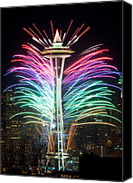 Fireworks Canvas Prints - Seattle New Year Canvas Print by Inge Johnsson