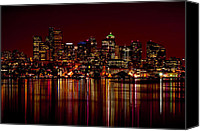 Seattle Waterfront Canvas Prints - Seattle Nightscape Canvas Print by Rich Leighton