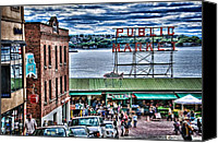 Puget Sound Canvas Prints - Seattle Public Market II Canvas Print by Spencer McDonald