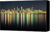 Seattle Tapestries Textiles Canvas Prints - Seattle Skyline At Night Canvas Print by Hai Huu Thanh Nguyen