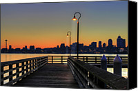 Railing Canvas Prints - Seattle Skyline From The Alki Beach Seacrest Park Canvas Print by David Gn Photography
