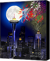 Fireworks Digital Art Canvas Prints - Seattle Skyline Canvas Print by Methune Hively