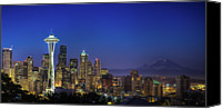 Seattle Tapestries Textiles Canvas Prints - Seattle Skyline Canvas Print by Sebastian Schlueter (sibbiblue)
