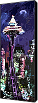 Landmarks Mixed Media Canvas Prints - Seattle Space Needle at Night  Canvas Print by Ginette Callaway