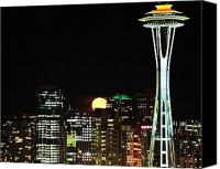 Seattle Skyline Canvas Prints - Seattle Super Moon Canvas Print by Benjamin Yeager