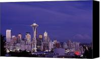 Seattle Skyline Canvas Prints - Seattle Washington at Dusk Canvas Print by Carol M Highsmith