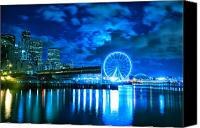 Seattle Waterfront Canvas Prints - Seattle Waterfront at Night Canvas Print by Tanya Harrison