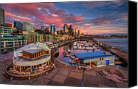 Seattle Tapestries Textiles Canvas Prints - Seattle Waterfront At Sunset Canvas Print by Photo by David R irons Jr