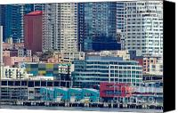 Seattle Waterfront Canvas Prints - SEATTLE WATERFRONT piers and condos in downtown Seattle WA Canvas Print by Andy Smy