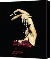 Dancer Painting Canvas Prints - Seclusion del Flamenco Canvas Print by Richard Young