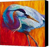 Herons Canvas Prints - Second Glance - Great Blue Heron Canvas Print by Marion Rose