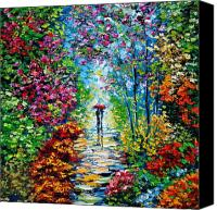 Garden Painting Canvas Prints - Secret Garden Oil Painting - B. Sasik Canvas Print by Beata Sasik