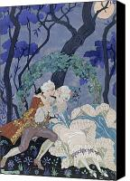 Engagement Canvas Prints - Secret Kiss Canvas Print by Georges Barbier