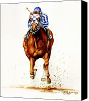 Race Horse Prints Canvas Prints - Secretariat at Belmont Canvas Print by Thomas Allen Pauly