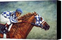 Race Horse Prints Canvas Prints - Secretariat -Turcotte up Canvas Print by Thomas Allen Pauly