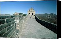Watchtower Canvas Prints - Section of a Great Wall of China with a Watchtower Canvas Print by George Oze