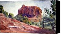 Plein Canvas Prints - Sedona Butte Canvas Print by Donald Maier