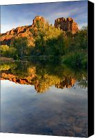 Pool Canvas Prints - Sedona Sunset Canvas Print by Mike  Dawson
