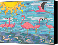 Pink Flamingo Drawings Canvas Prints - Seeing Pink Canvas Print by Pamela Schiermeyer