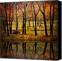 Benches Canvas Prints - Seeing You Again Canvas Print by Debra and Dave Vanderlaan