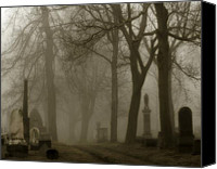 Spooky Digital Art Canvas Prints - Seeped In Fog Canvas Print by Gothicolors With Crows