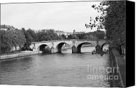 The Louvre Museum Canvas Prints - Seine River Bank Canvas Print by Chuck Kuhn
