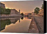 Walkway Canvas Prints - Seine River In Morning, Paris Canvas Print by Stéphanie Benjamin