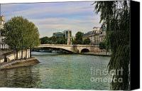 The Louvre Museum Canvas Prints - Seine River Paris I Canvas Print by Chuck Kuhn