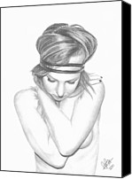 Embrace Drawings Canvas Prints - Self Embrace Canvas Print by Chris Cox