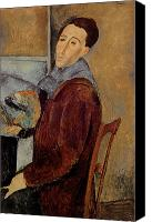 Modigliani Canvas Prints - Self Portrait Canvas Print by Amedeo Modigliani